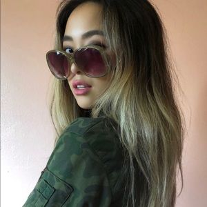 Accessories - Vintage Oversized Olive Butterfly Arm Sunglasses